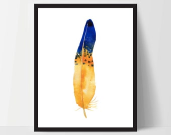 Printable Wall Art, Feather Art, Wall Print, Boho Art, Wall Prints, Feather Prints, Printable Art, Printables, Blue Yellow Watercolor