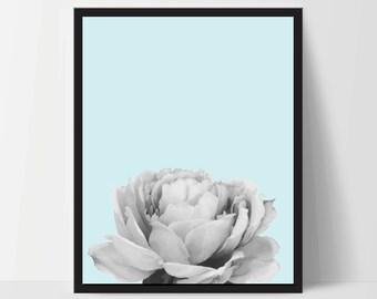 Blue Peony Flower, Wall Art, Artwork, Home Decor, Modern Print, Print Art, Nature Art, Living Room, Digital Print, 8x10, 12x16