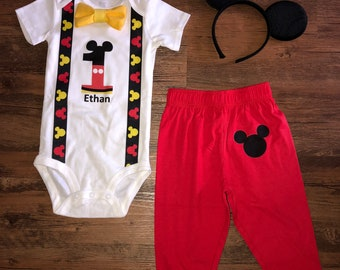 SALEMickey Mouse Inspired Birthday Outfit With Pants