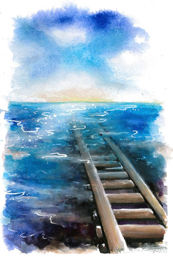 Spirited Away Train Tracks Painted Print Etsy