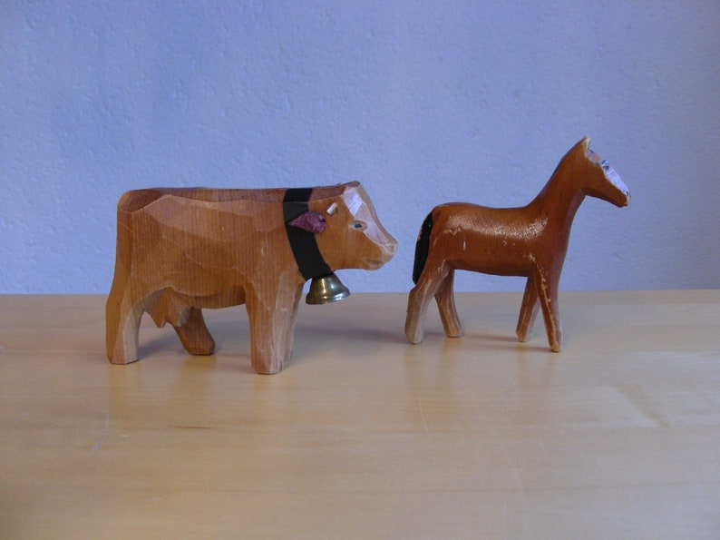 Swiss cow and horse children\u2019s toys vintage collectibles Handcarved