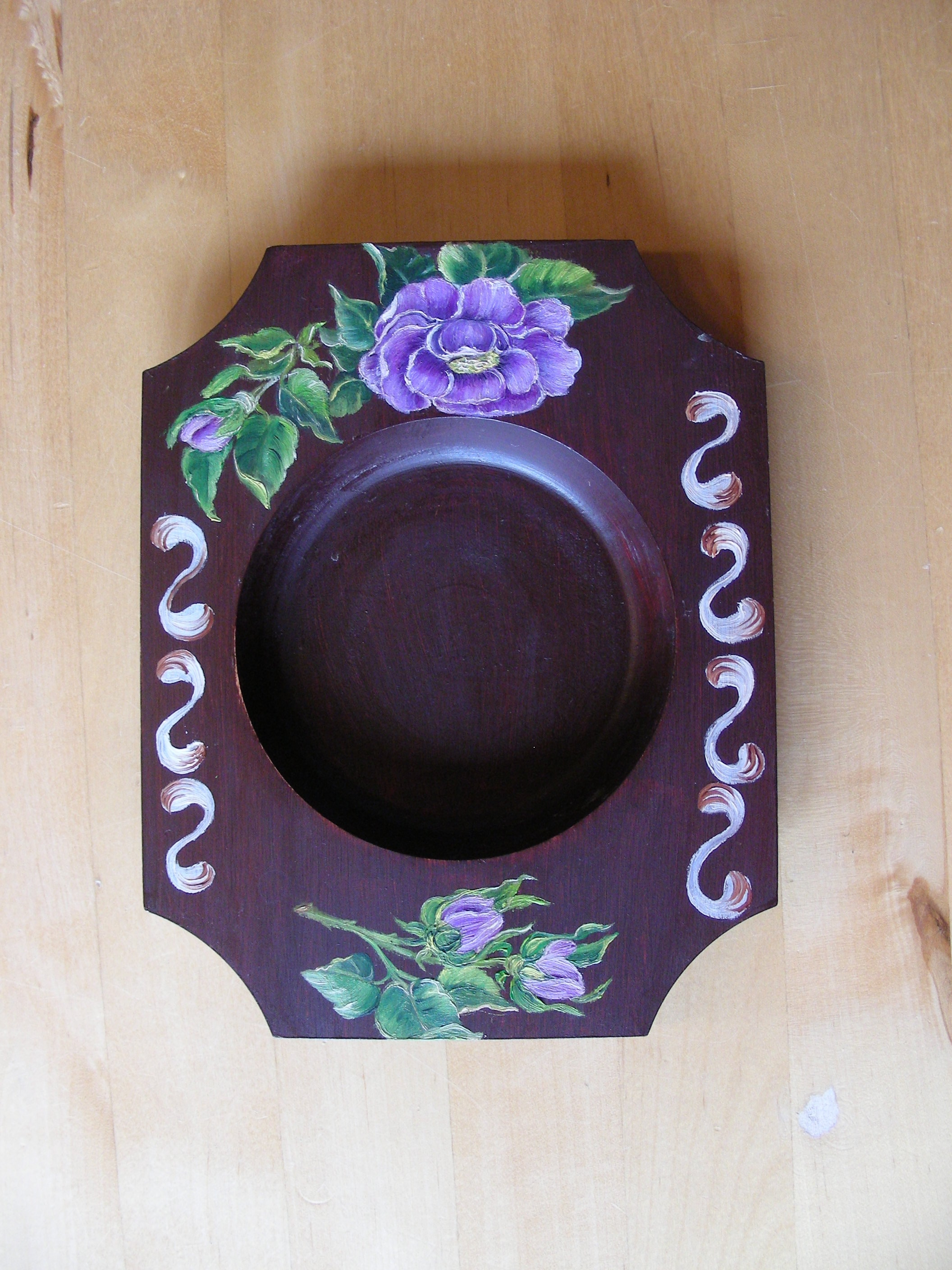 Vintage Candle Holder Hand Painted Wood