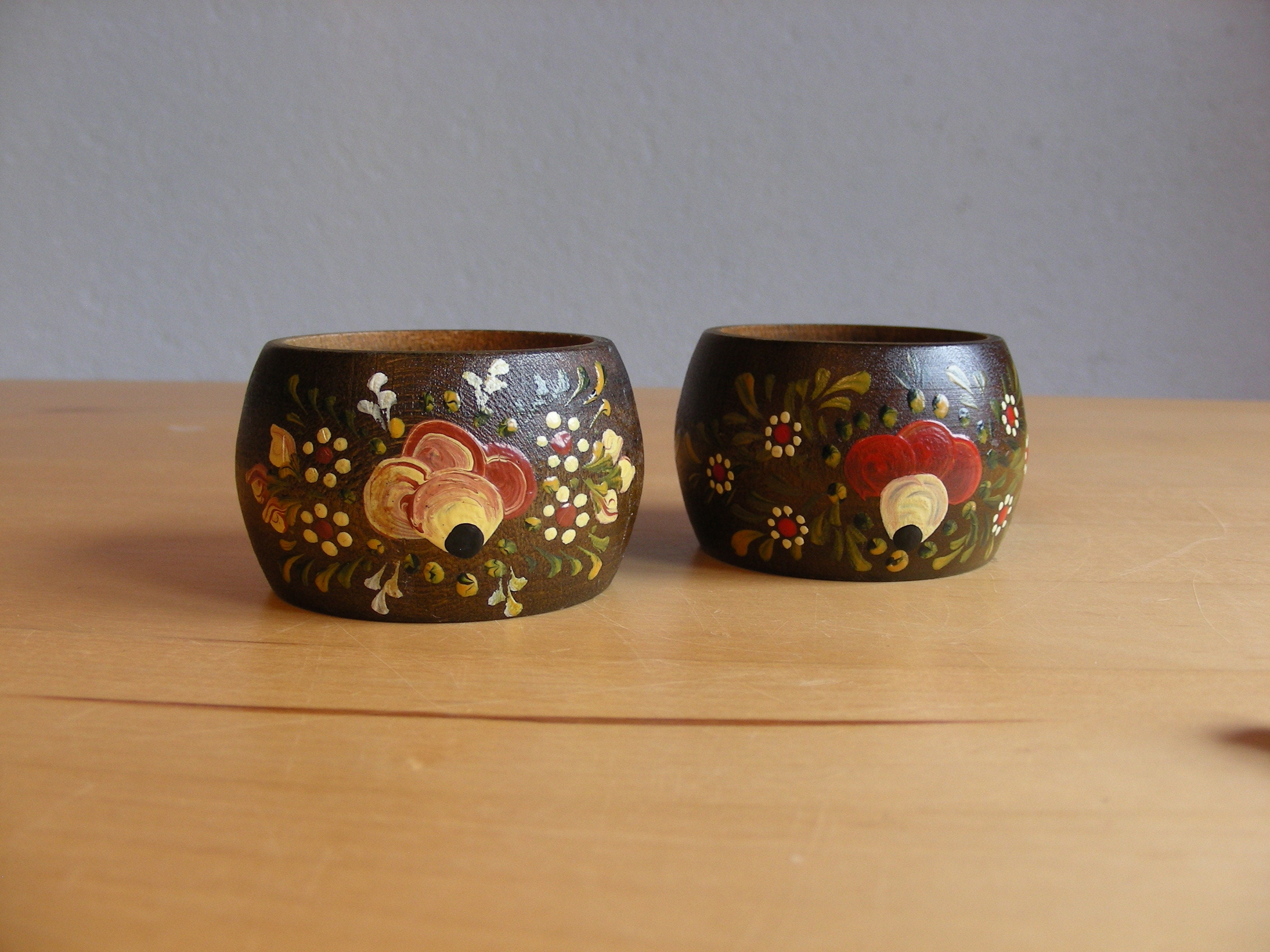 Set Of Two Pretty Hand Painted Wood Napkin Rings