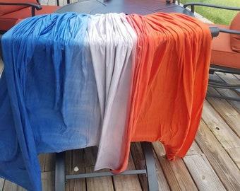 Navy, Silver, Orange Horizontal Ombre - 5yrds