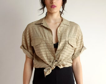 7001b9cd Minimal Silk Blouse, Short Sleeve Button Up Shirt, Vintage 90s Beige  Neutral Oversized Collared Shirt, Loose Fit Simple Tie Front Blouse