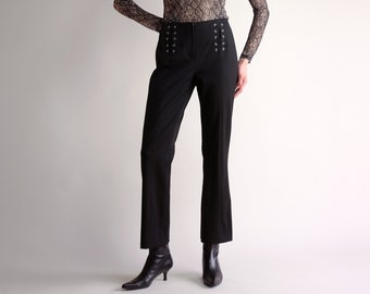65bfc9ef80 Black Flare Pants, Vintage 90s Y2K Minimal Trousers, Simple Black Lace Up  Trim Flares, Casual Mid Rise Bootcut Bell Bottom Pants - Size 2
