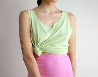 1eefdb1f Green Tank Top, Oversized Minimal Sleeveless Blouse, Eileen Fisher Tank  Top, Basic Light Pale Green Spring Summer Casual Blouse Large