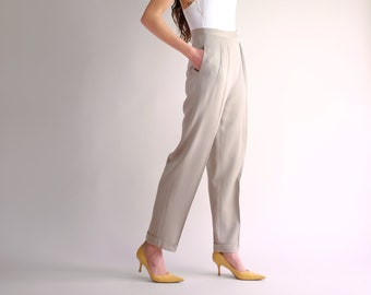 f3cdb7d80e Pleated Silk Trousers, Vintage 90s Minimal Pants, High Rise Loose Fit Pants,  Casual Neutral Tapered Relaxed Spring Summer Pants - Size 4