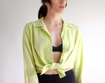 dcf24d3246d2f Silky Chartreuse Blouse