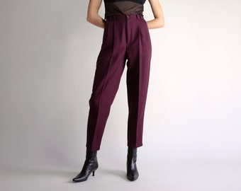 d8c42f0df8 High Waist Trousers, Vintage 90s Minimal Pleated Pants, Simple Eggplant  Purple Trousers, Relaxed Fit Tapered High Rise Casual Pants - Size 4