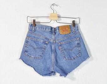 914621da1db Levi's Cutoff Shorts, Vintage 90s Levi 501 Denim Shorts, High Waist High  Rise Button Fly Frayed Cut Off Classic Levi's Jean Shorts Size 28 W