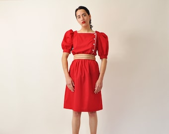 Puff Sleeve Dress, Simple Red Dress, Romantic 80s Dress, Vintage Red and White Dress, Minimal Midi Dress, Spring Summer A-Line Dress