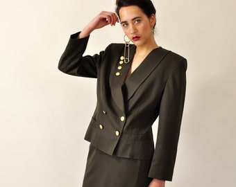 90s Skirt Suit, Vintage 90s Power Suit, Army Green Two Piece Matching Set, Minimal Co-Ord Set, Dolman Sleeve Crop Blazer High Waist Skirt