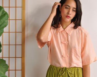 Peach Silk Blouse, Minimal Silk Shirt, Vintage Silk Top, 90s Minimal Top, Short Sleeve Oxford, Silk Oxford, Silk Button Up, Summer Blouse