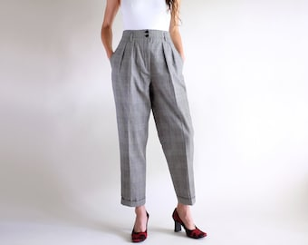 07227ae6eb Glen Plaid Trousers, Vintage 90s Houndstooth Pants, Minimal Tartan High  Rise High Waisted Simple Pleated Tapered All Seasons Wool Pants Sz 4