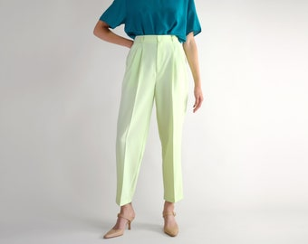 77472b6d60 Chartreuse Pleated Trousers, High Rise Loose Fit Tapered Leg Pants, Vintage  90s Minimal Light Pastel Green Spring Summer Pants