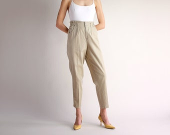 a2abff5cf1 Khaki Linen Trousers, Vintage 90s Minimal Pants, High Rise Loose Fit Pleated  Pants, Relaxed Tapered Beige Tan Cotton Linen Trousers - Size 4
