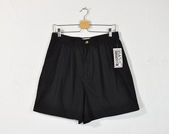 9685c425d9 Pleated Black Shorts, Vintage 90s Minimal Shorts, High Waist High Rise  Cotton Shorts, Classic Loose Fit Spring Summer Trouser Shorts Size 14