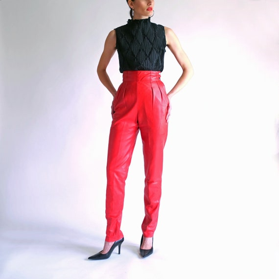 Red Leather Pants, Ultra High Waisted Slim Fit Pan