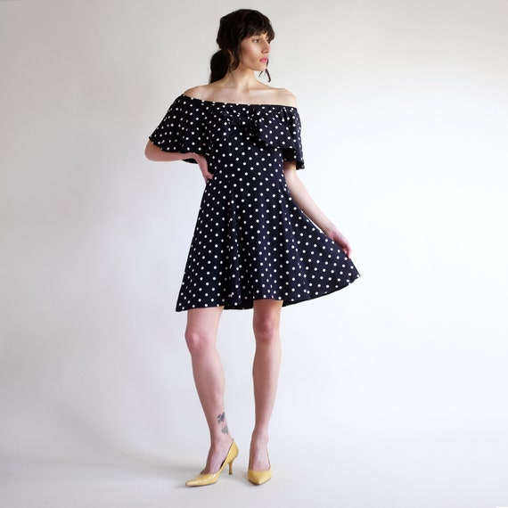 Polkadot Ruffle Dress, Vintage 90s Ruffle Collar D