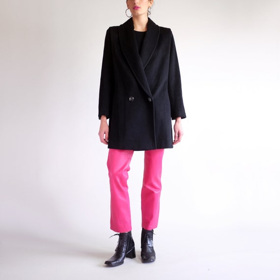 Black Wool Overcoat, Minimal Structured Double Bre
