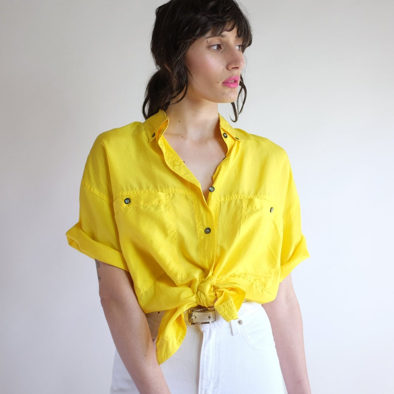 Yellow Silk Blouse Vintage Vibrant Oversized Minimal Simple Baggy Loose Button Down Tie Up Oxford 90s Minimal Silk Short Sleeve Shirt