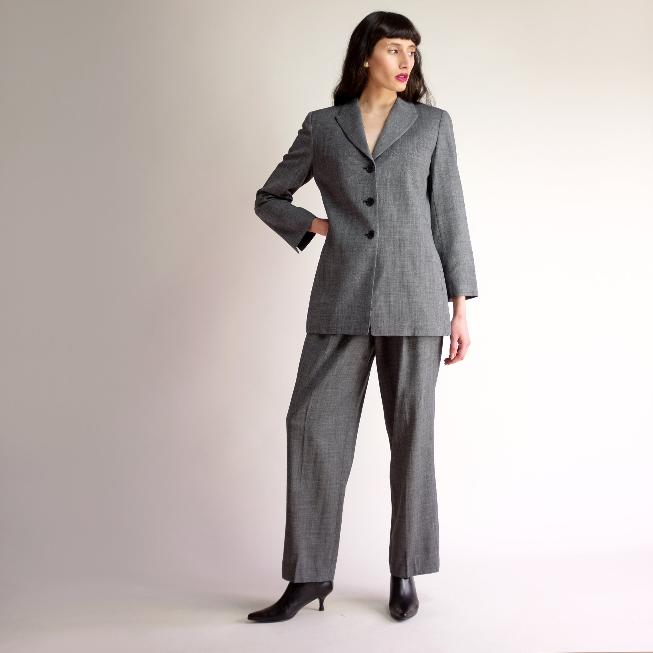 5203858d3320 90s Minimal Pantsuit High Waisted Vintage ELLEN TRACY Suit | Etsy