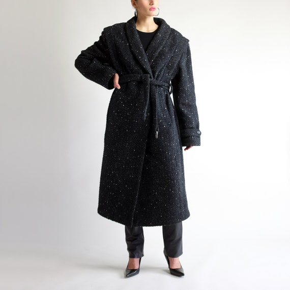 Belted Tweed Overcoat, Vintage 90s Wool Maxi Winte