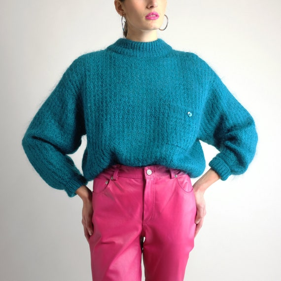 Cropped Mohair Sweater, Vintage 90s Oversized Fuzz