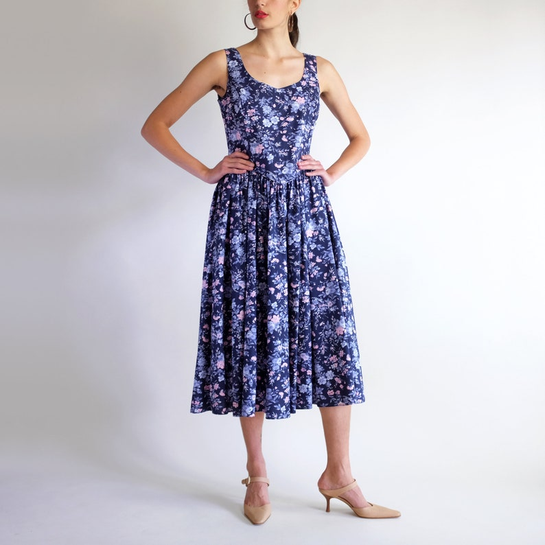 ac64da796de Laura Ashley Dress, Vintage 90s Floral Print Dress, Simple Cotton  Sleeveless Dress, Loose Romantic Spring Summer A-Line Mid Length Sundress