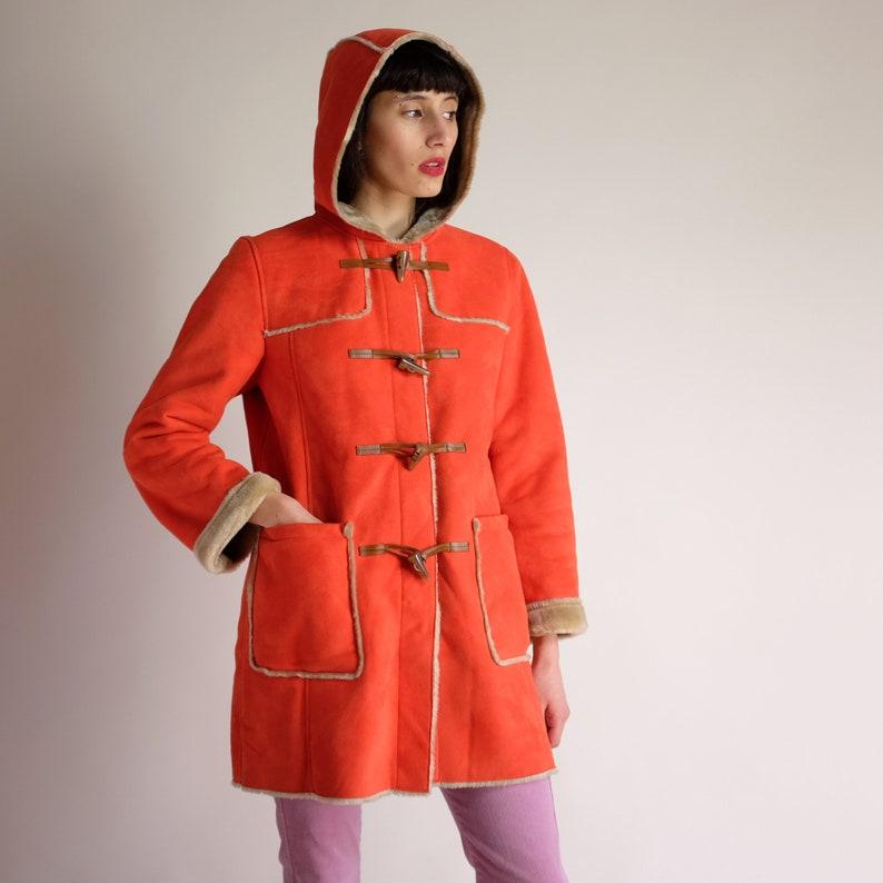 50d4bab44772 Hooded Winter Coat 90s Toggle Coat Vintage BENETTON Minimal | Etsy