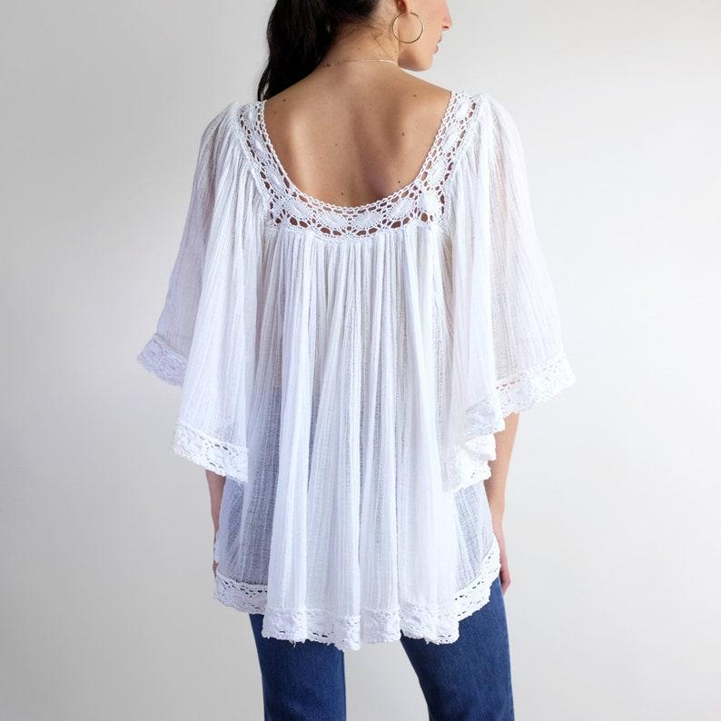 Bell Sleeve Blouse 60s Oversized Bohemian Tunic Blouse Vintage Sheer White Lace Trim Gauze Spring Summer Top Hippie Boho Prairie Peasant