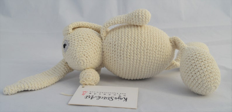 Baby gift Lovely crochet white bunny toy Personalized bunny Stuffed bunny