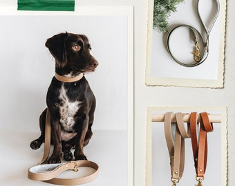 Short leather dog leash, tan, black, green, latte, HITCH, handcrafted in our family workshop in Berlin, Germany
