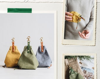 Canvas treat bag for dogs, snack bag, treat pouch, smoke grey, forest green, mustard yellow, YORK, handmade in our family workshop in Berlin