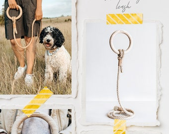 Dog rope leash with wooden ring handle, dog rope lead, eco-friendly, sustainable, natural, ASH, handmade by band&roll in Berlin, Germany