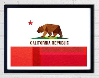 California Flag art print - WHITE background - wall art - Cali - Socal - Norcal - The Golden State - California Republic - Collage
