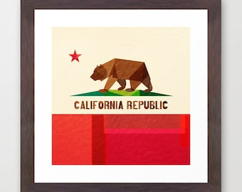 California Flag art print - 19x19inches - wall art - Cali - Socal - Norcal - The Golden State - California Republic - Collage