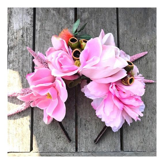 Australiana Huge Pink Statement Flower Crown Magnolias Etsy