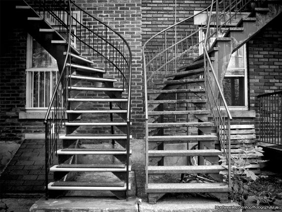 Montreal Photography, Winding Stairs, Black And White, Brick Wall, Urban  Wall Art, Cottage Chic, Urban Decor, Rustic Wall Art, Street Art