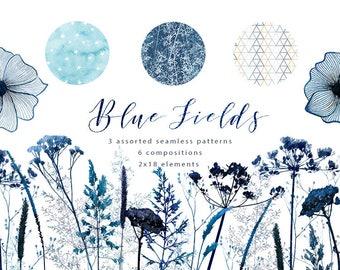 Watercolor indigo field flowers cliparts, grass, seed flowers, navy blue floral wreath, geometric pattern, little stars pattern, denim, gray