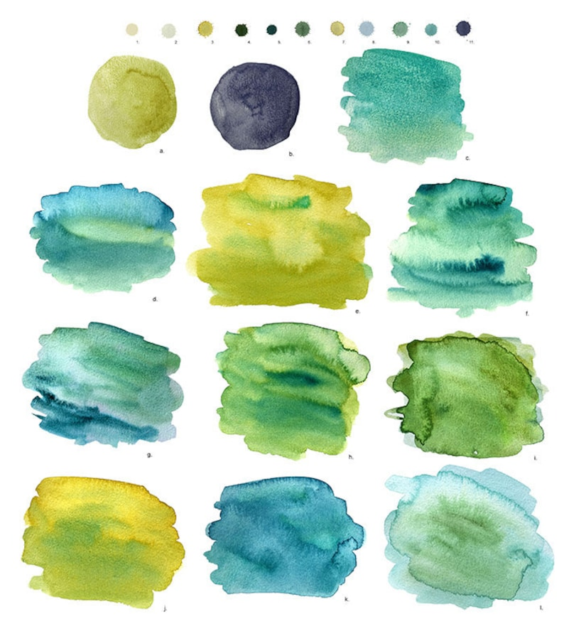 High quality hand-painted watercolor splashes green seamless pattern and textures in an assorted range of colors teal lime blue mint