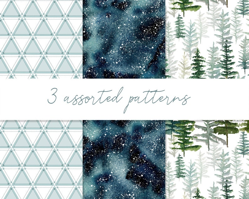 Cliparts of fir trees painted with watercolour decorated with black and turquoise geometric elements mysterious winter misty landscapes