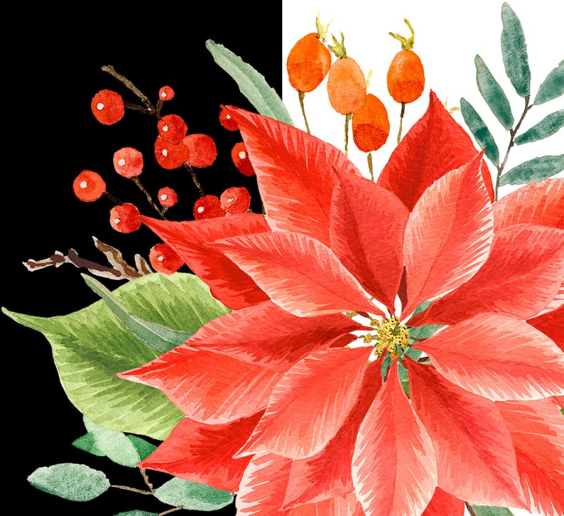 black berries Watercolor Christmas high quality colorful cliparts poinsettia gingham pattern pine holly leaves twigs floral wreath