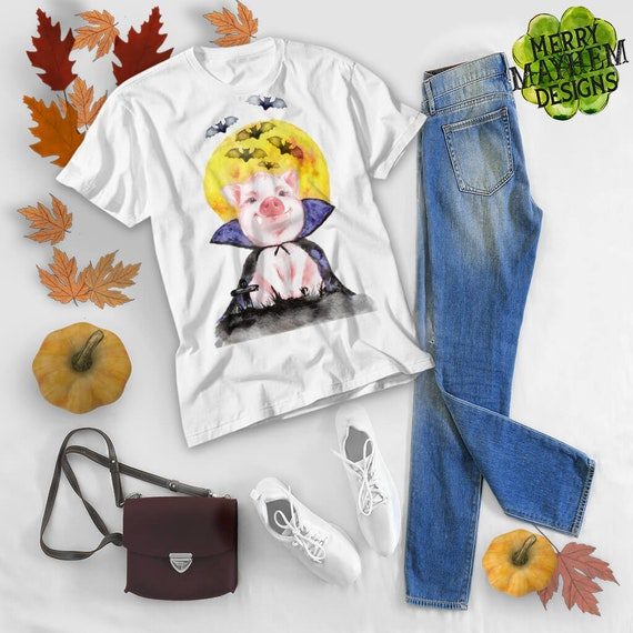 1fade5901d6 Halloween Shirt Women Free Shipping Watercolor Pig Plus