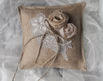 "Ring Pillow Burlap Rustic Wedding Ring Bearer Cushion Florals Vintage Trim Jute Ring Ribbon Bow  7"" x 7"" FREEPOST UK"