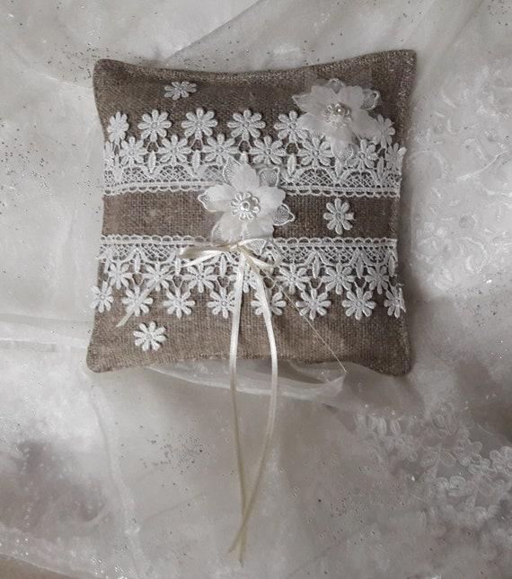 ready to shipp Blue linen wedding ring bearer pillow with white flower ---wedding ring pillow rings cushion wedding pillow
