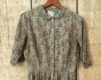 Vintage 1960's Cos Cob floral shirtwaist dress