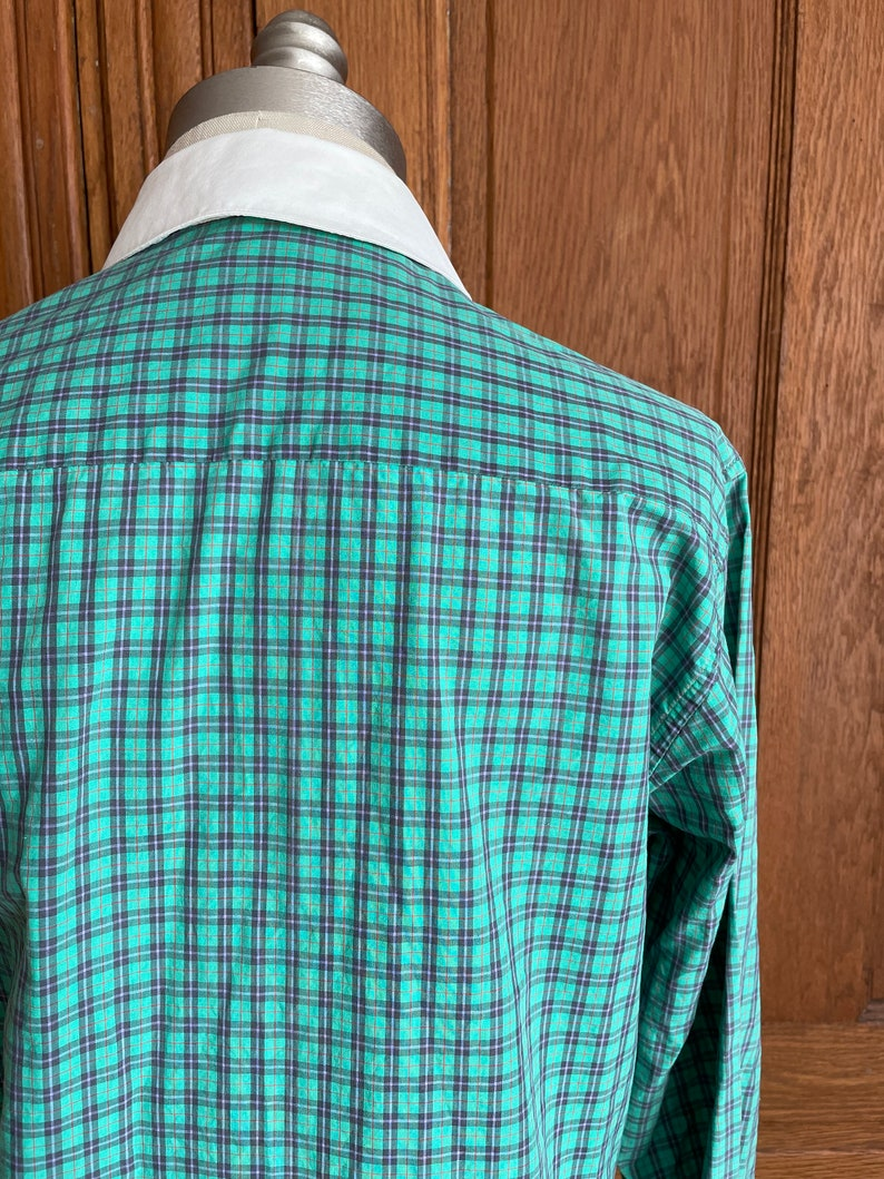 1980s Vintage Liz Claiborne Plaid Button Up Blouse 80s Collard Button Up Green and Blue Shirt Size Medium