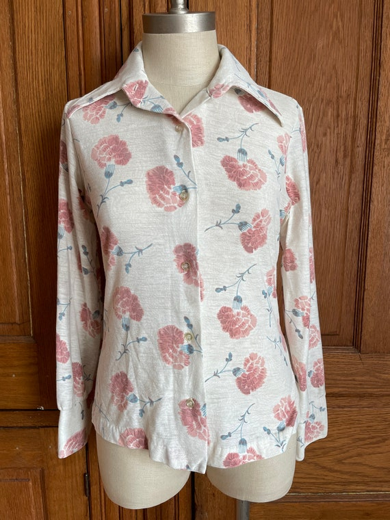 1970s Psychedelic Kimono Cover Up Floral Blouse Sears Roebuck